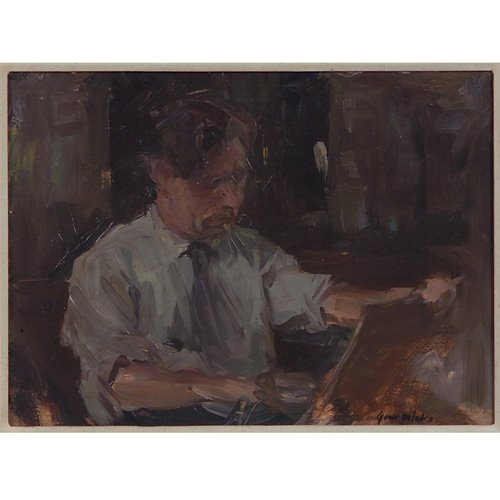 162: George Luks, Study of a Man Painting, oil on board
