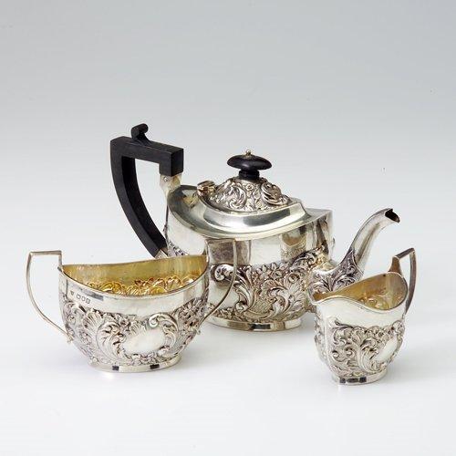 9: Sydney & Brisbane sterling tea set with teapot, suga