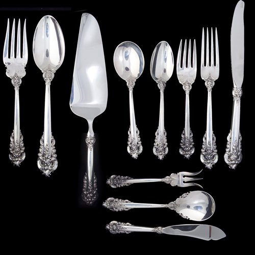 12: Wallace sterling flatware service for eight with th