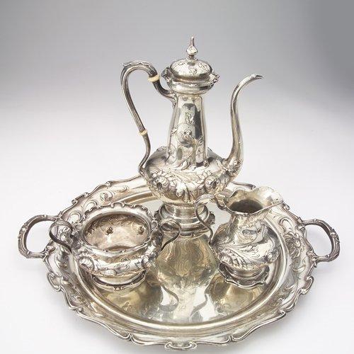 14: Gorham sterling tea set: teapot, creamer, sugar and