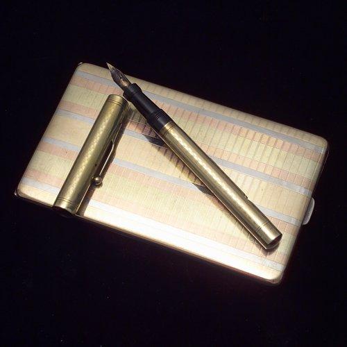 "19: ""Swan Pen"" 14k yellow gold fountain pen, 1915. 5 1/"