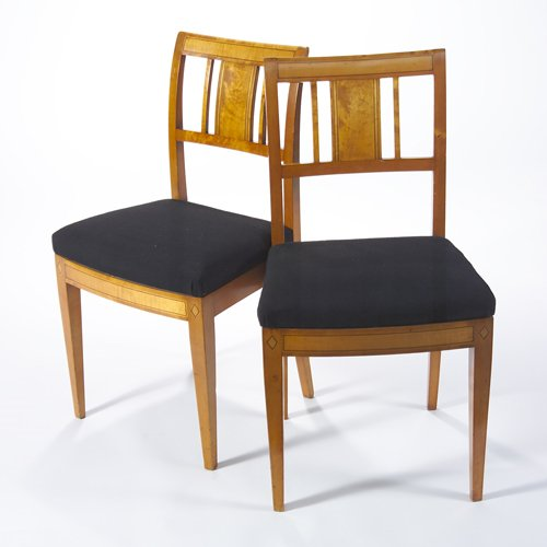 21: Beidermeier pair of fruitwood side chairs with upho