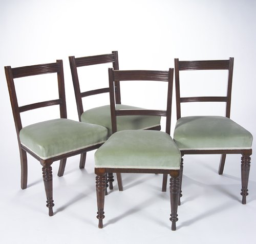 24: English Victorian mahogany side chairs, set of four