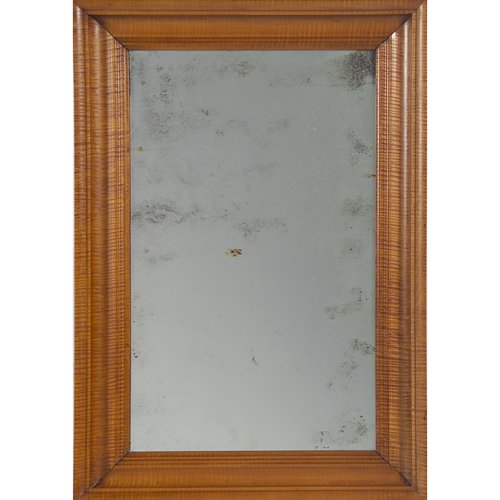 37: American tiger maple frame, 19th c., with later mir