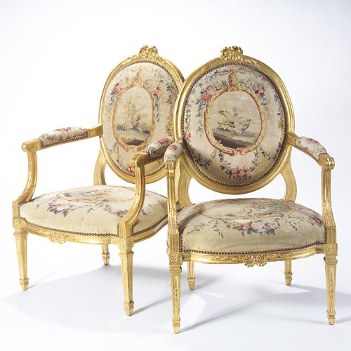 46: Louis XVI style open arm chairs, upholstered in 18t