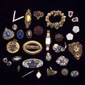 374 A group of old jewelry mostly sterling some gold