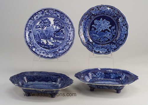 22: Two Staffordshire blue and white entree d