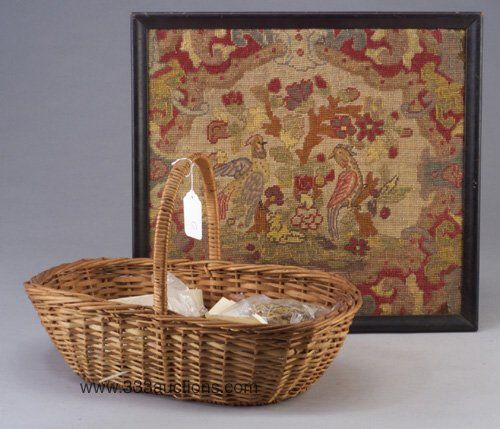 Two baskets of sewing items, including a