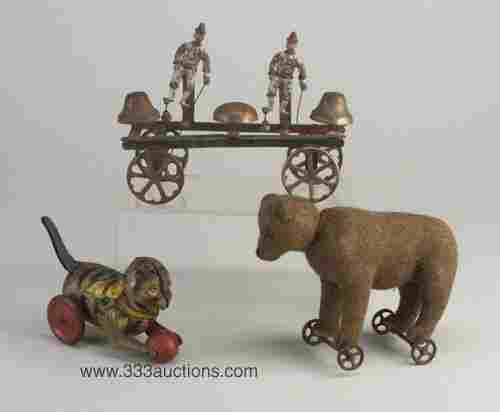 Three Victorian pull toys: a bell toy wit