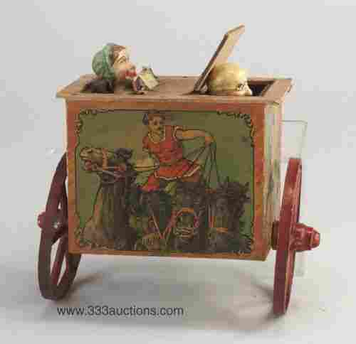 Victorian circus pull toy, wood, with mal