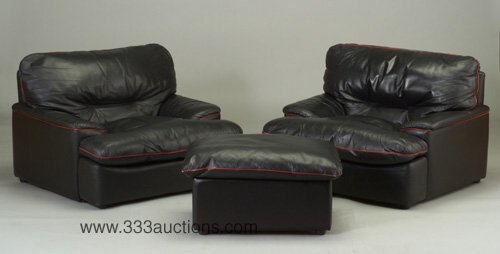 501: Roche Bobois lounge chair pair with matc