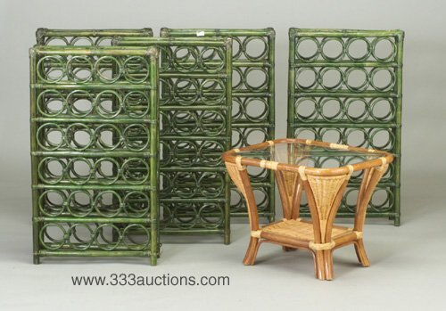 503: Five bamboo wine racks, lacquered green,