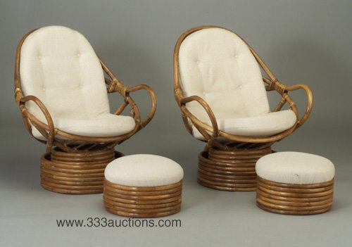 504: Two bamboo lounge chairs, each with swiv