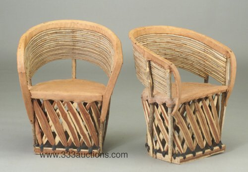 505: Pair of Mexican cafe barrel chairs, each