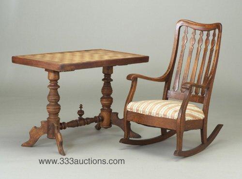 506: Hardwood chess table on turned trestle b