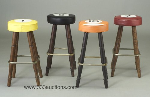 507: Four swiveling bar stools, each with uph
