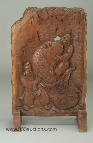 511: Japanese carved rosewood panel depicting