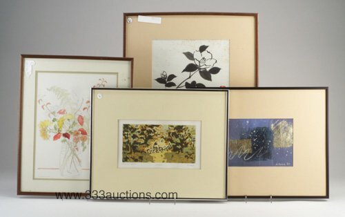 513: Four framed works on paper: watercolor o