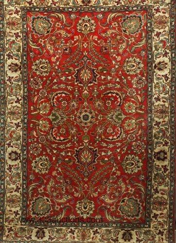 521: Indo-Kashan area rug, crimson ground and