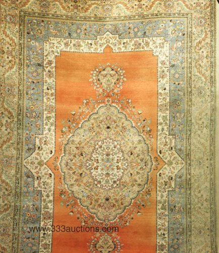 522: Indo-Tabriz room-size rug, peach ground