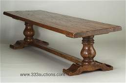 546 French primitivestyle trestle table cu