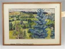 641 Watercolor on paper by Bertram Hartman