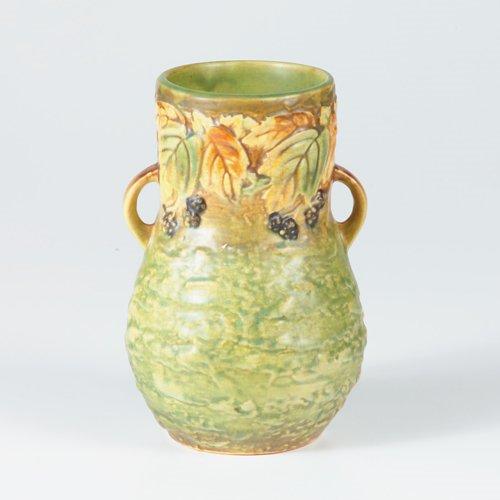 1016: ROSEVILLE Blackberry bulbous vase. Crisp mold, st