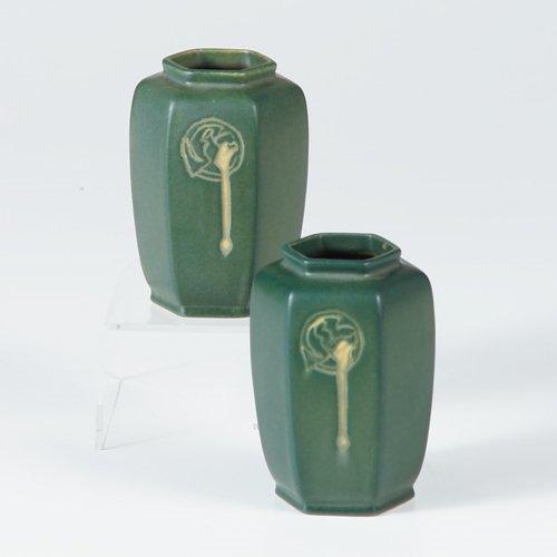 1018: Pair of ROSEVILLE green Hexagon cabinet vases. Tw