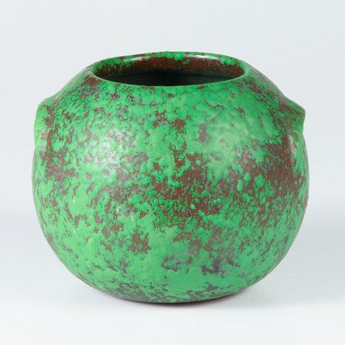 1023: WELLER Coppertone spherical vase. A few very mino