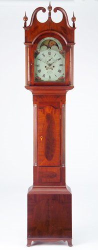 1: Joachim Hill tall case clock, its face painted with