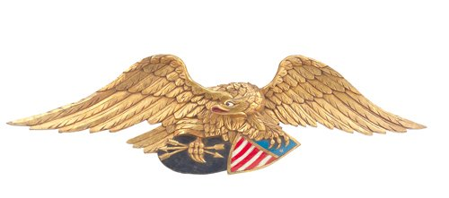 8: Carved American eagle with polychrome and gilt decor