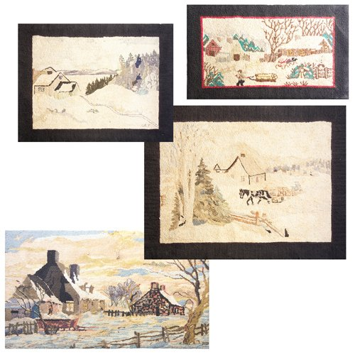 13: Four hooked rugs depicting winter scenes, three wit