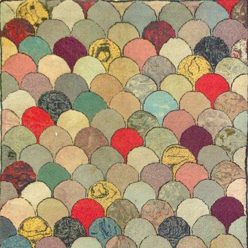 14: Cobblestones American hooked rug, wool on burlap wi
