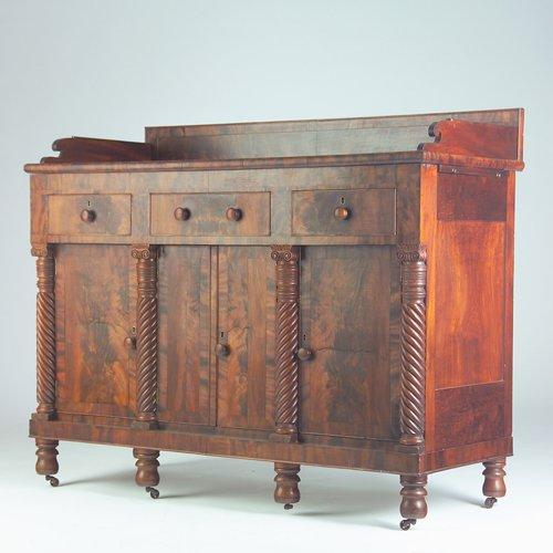 21: American Empire mahogany and burl veneer sideboard