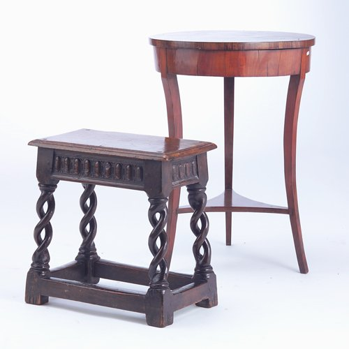 23: Biedermeier-style drum table and an English Renaiss