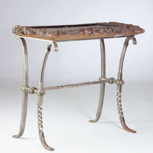 244: Unusual console table with tray top of solid burl