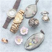 634: Old jewelry, mostly sterling with some gold and di