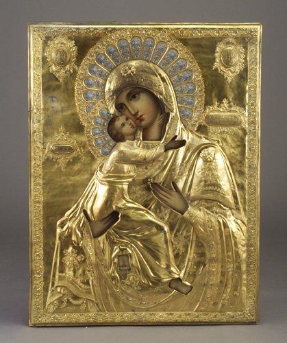 74: Russian icon: Virgin of Vladimir, in gilt