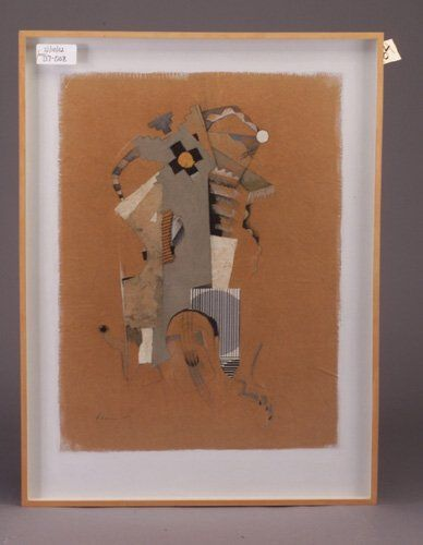 484: Mixed media drawing on brown paper mount