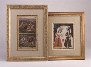Persian figural paintings, 19th c., one of