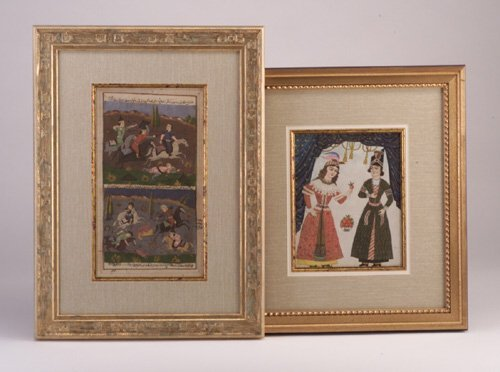 8: Persian figural paintings, 19th c., one of