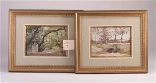 Susan Codman two landscapes, watercolor