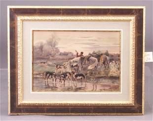 European School, 19th c. hunting scene