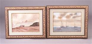 Two watercolor pieces by Barker (American