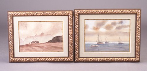 23: Two watercolor pieces by Barker (American