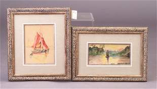Two early 20th c. watercolors: one Arthur