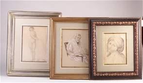 54: Three female portraits: Albert Farrell (A