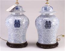 134 Pair of Chinese blue and white porcelain