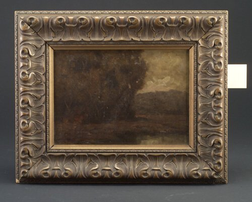 5: American School landscape with pond, oil o