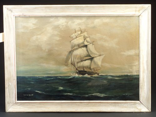 21: Capt. B. Floulette signed oil on canvas,